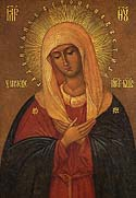 "Icon of the Mother of God ""Virgin of Tenderness"" from Pskov-Pechersk"