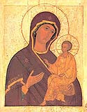 "Icon of the Mother of God Weeping ""Tikhvin"" on Mt Athos"