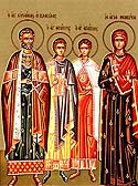 Martyr Theopiste with her husband and her children of Rome