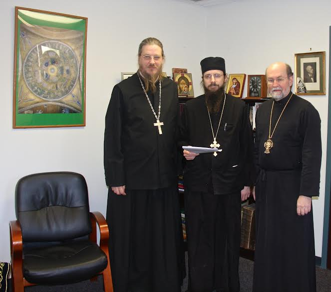 Signatories on the landmark publication agreement: (from left) Fr. John Behr, Fr. Sergius, and Fr. Chad Hatfield.