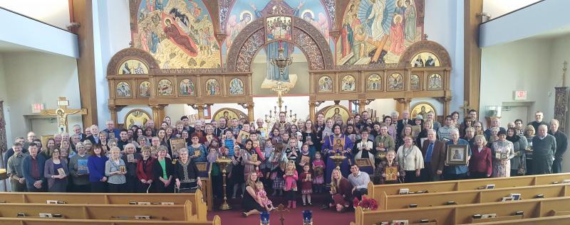 Burr Ridge, IL: Fr. Herman Kincaid & faithful of Sts. Peter & Paul Church following Divine Liturgy on Sunday of Orthodoxy.