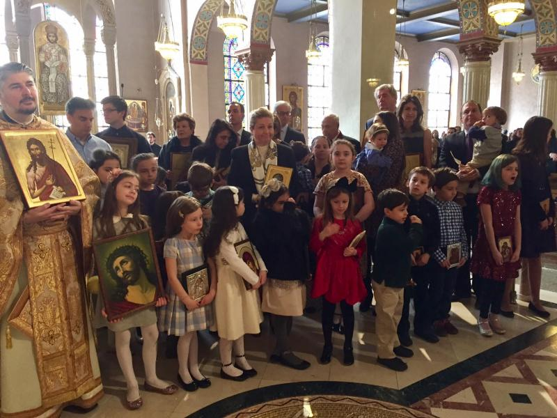 New York, NY: Sunday of Orthodoxy at Holy Trinity Cathedral (Greek). Church school children carried icons. OCA was represented by Abp. Melchisedek & Fr. John Jillions.