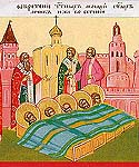 Uncovering of the relics of the Holy Martyrs at the Gate of Eugenius at Constantinople