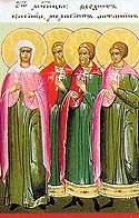 Martyrs Melasippus, Karina, their son, Antoninus, and forty children converted by their martyrdom, at Ancyra