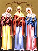 Martyrs Menodora, Metrodora, and Nymphodora, at Nicomedia
