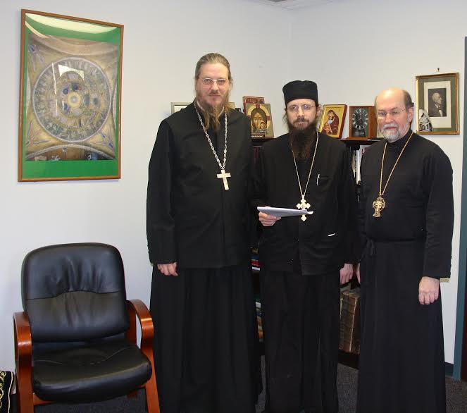Signatories on the landmark publication agreement: (from left) Fr. John Behr, Fr. Sergius, and Fr. Chad Hatfield.