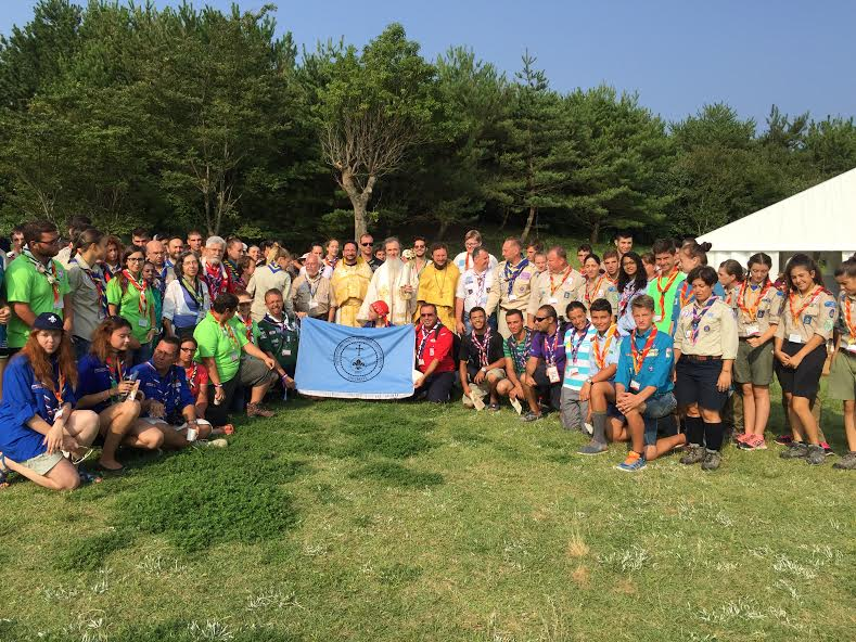 Orthodox Scouts gather after the Jamboree Divine Liturgy.